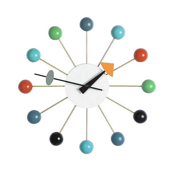 VITRA 'Ball Clock' Wanduhr Buche lackiert